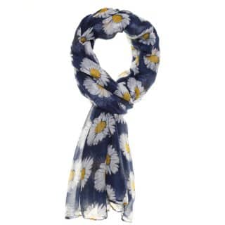 Wholesale jess large blue daisy print lightweight scarf for ladies