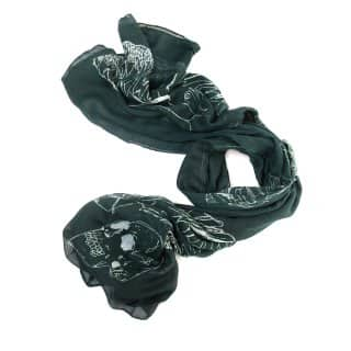 Wholesale green skull print lightweight scarf
