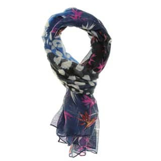 Wholesale blue bird of paradise print lightweight scarf