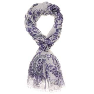 Wholesale blue vintage flower print lightweight scarf