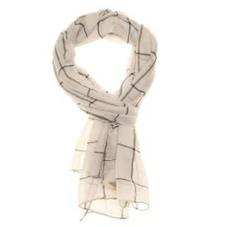 Wholesale cream checked print lightweight scarf