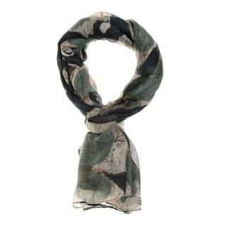 Wholesale abstract flower print lightweight scarf in navy