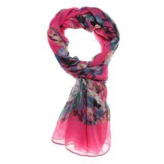 Wholesale pink watercolour print lightweight scarf