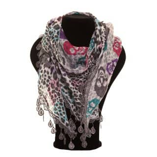 Lightweight wholesale grey printed scarf
