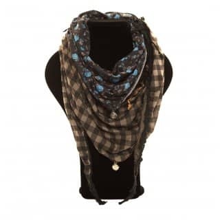 Wholesale black flower and checked triangle lightweight scarf