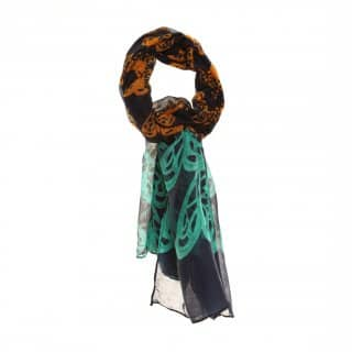 Wholesale lightweight gemma heart print lightweight scarf in navy