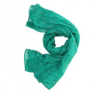 Wholesale green small dot print lightweight scarf