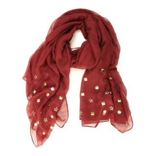 Wholesale ladies sabrina red stud lightweight scarf