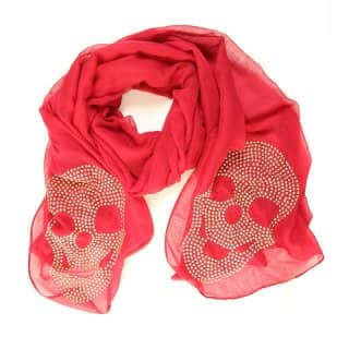 Wholesale ladies skye diamonte lightweight scarf in red