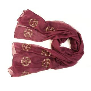 Wholesale ladies carys peace diamonte red lightweight scarf
