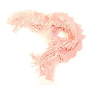 Wholesale ladies pink coral ruffle lightweight scarf