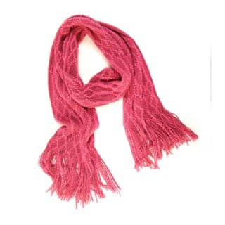 Wholesale ladies natalie deco red knitted lightweight scarf