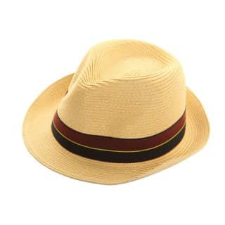 Wholesale straw trilby with brown and blue band