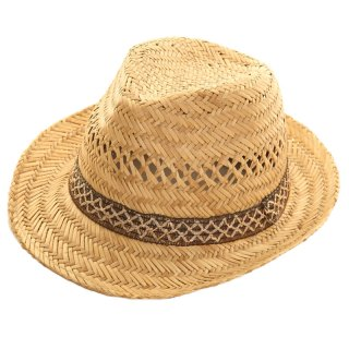 Wholesale mens straw trilby with ornate band