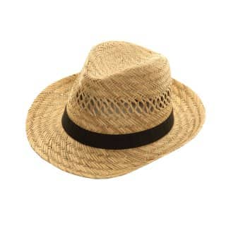 Wholesale mens straw fedora with black band