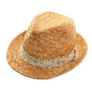 Wholesale straw trilby with green floral band
