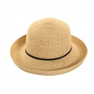 Wholesale ladies mottled straw hat with black slim band
