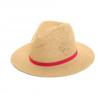 Unisex straw fedora with pink slim band