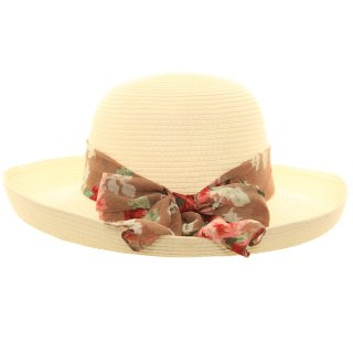 Wholesale ladies straw hat with crushable brim with red floral scarf band