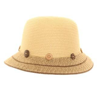 S205 - LADIES STRAW BUSH HAT WITH BUTTON BAND