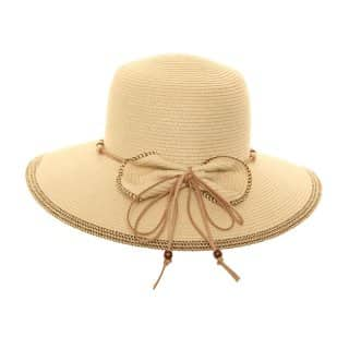 S206 - LADIES CRUSHABLE STRAW HAT /FAUX LEATHER BAND & BOW