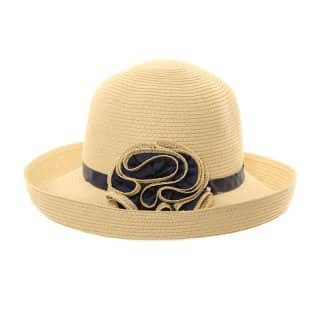 S207 - LADIES UP BRIM STRAW HAT WITH RUFFLE DETAIL