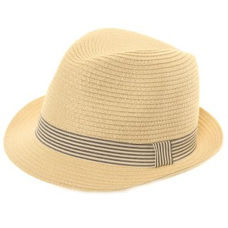 Wholesale unisex crushable straw trilby with black striped band