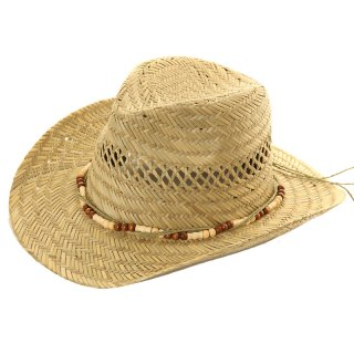 Wholesale unisex straw cowboy hat with bead band