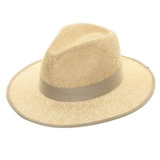 Wholesale mens structured straw fedora with grey band