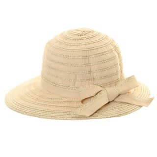 Wholesale crushable straw hat with woven short brim in beige