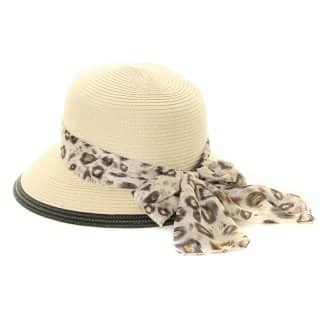 Wholesale ladies straw cloche with animal print band