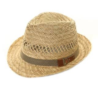 Wholesale mens straw trilby with band and buckle