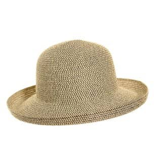Wholesale straw short brim hat with turn up brim in brown