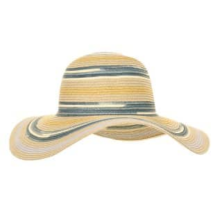 Wholesale womens blue multi stripe straw wide brim hat