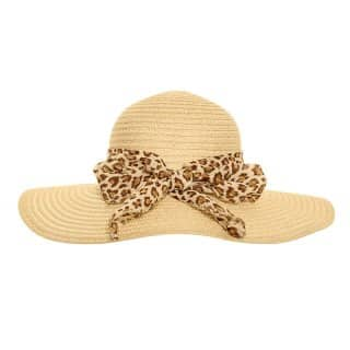Wholesale womens straw wide brim hat with animal print scarf in natural colours