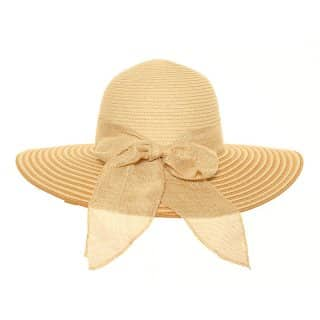 Wholesale womens straw wide brim hat with stripe brim and bow in beige