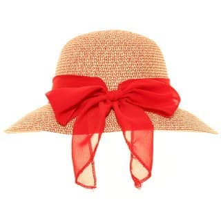 Wholesale straw short brim hat with scarf bow in red