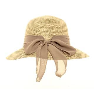 Wholesale straw short brim hat with scarf bow in brown