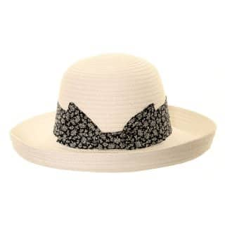 Wholesale womens straw short brim hat with a bow band in white