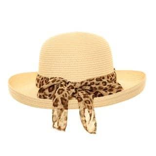 Bulk womens straw short brim hat with animal print scarf