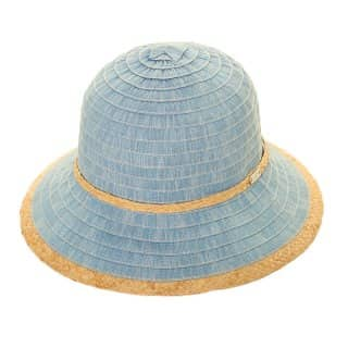 Wholesale womens light blue tapered straw short brim hat