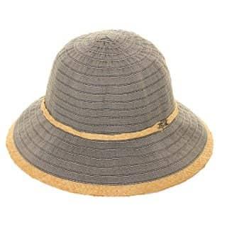 Wholesale womens dark blue tapered straw short brim hat