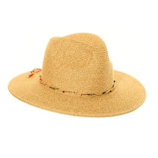 Wholesale womens dark natural straw fedora with bead band