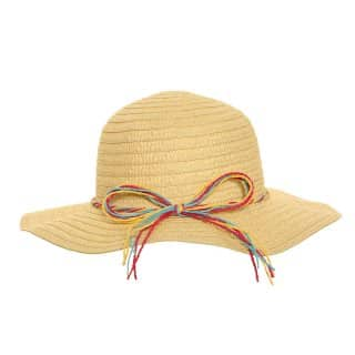 Wholesale womens straw short brim hat with multicoloured straw bands