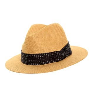 Wholesale beige straw mens fedora with spotty band
