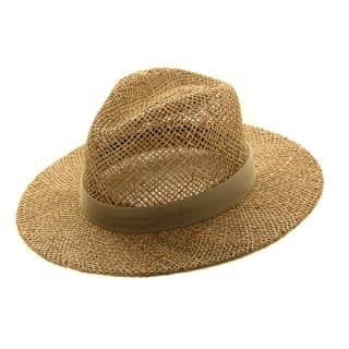 Wholesale mens straw fedora with plain brown cotton band