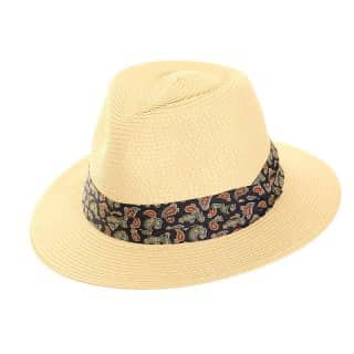 Wholesale mens straw fedora with blue paisley print