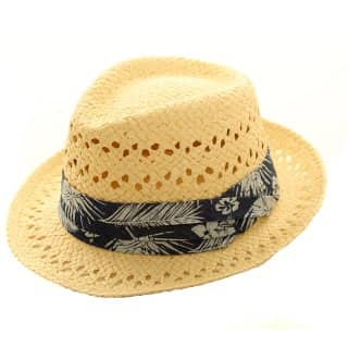 Wholesale mens straw trilby with hibiscus print