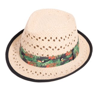 Wholesale adults unisex straw trilby with tucan band and black rim
