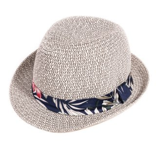 Wholesale adults unisex straw trilby with hawaiian print band